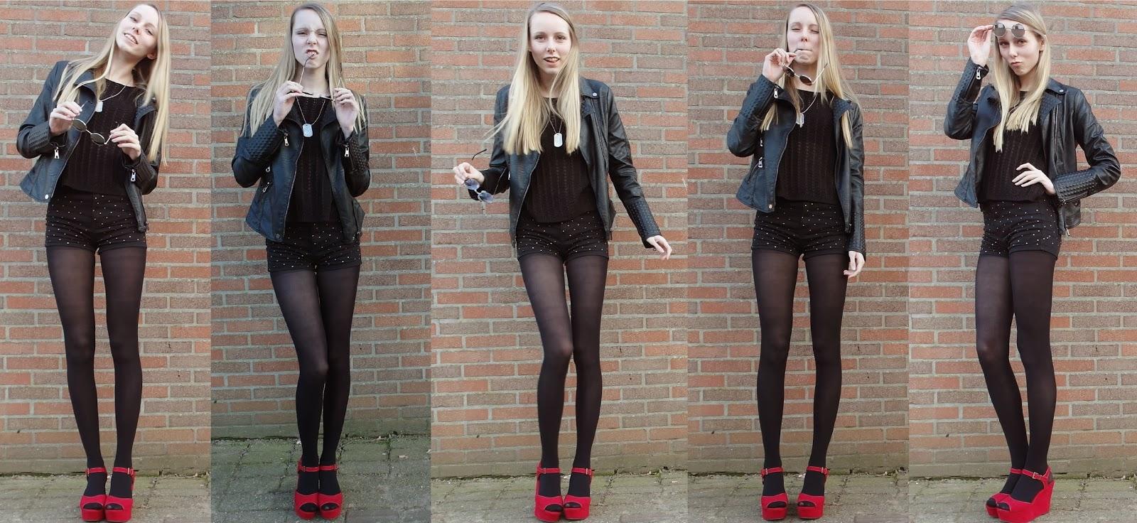 Zwarte outfit inspiratie kort broekje studs Soshin beenmode panty onder shorts rode sleehakken