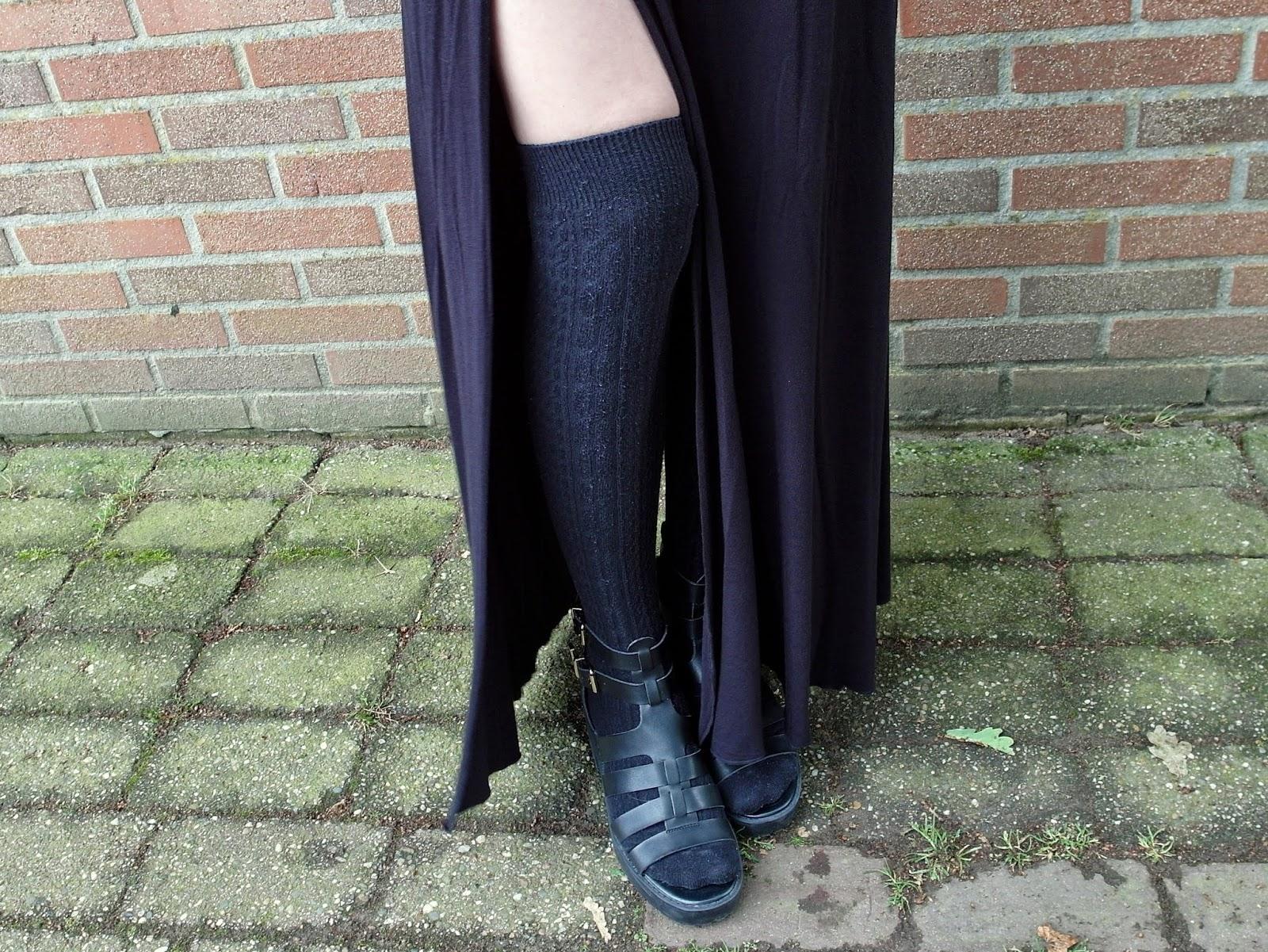 Lange rok met split maxi rok tot de grond outfit inspiratie