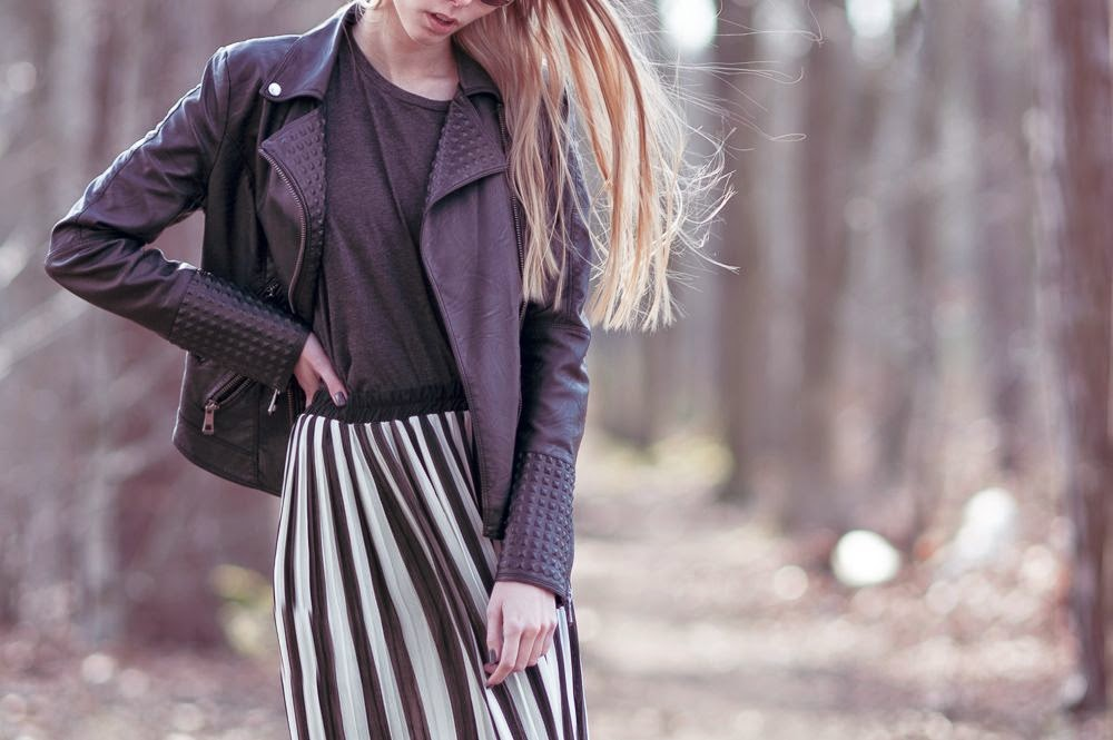 Outfit | Striped maxi skirt