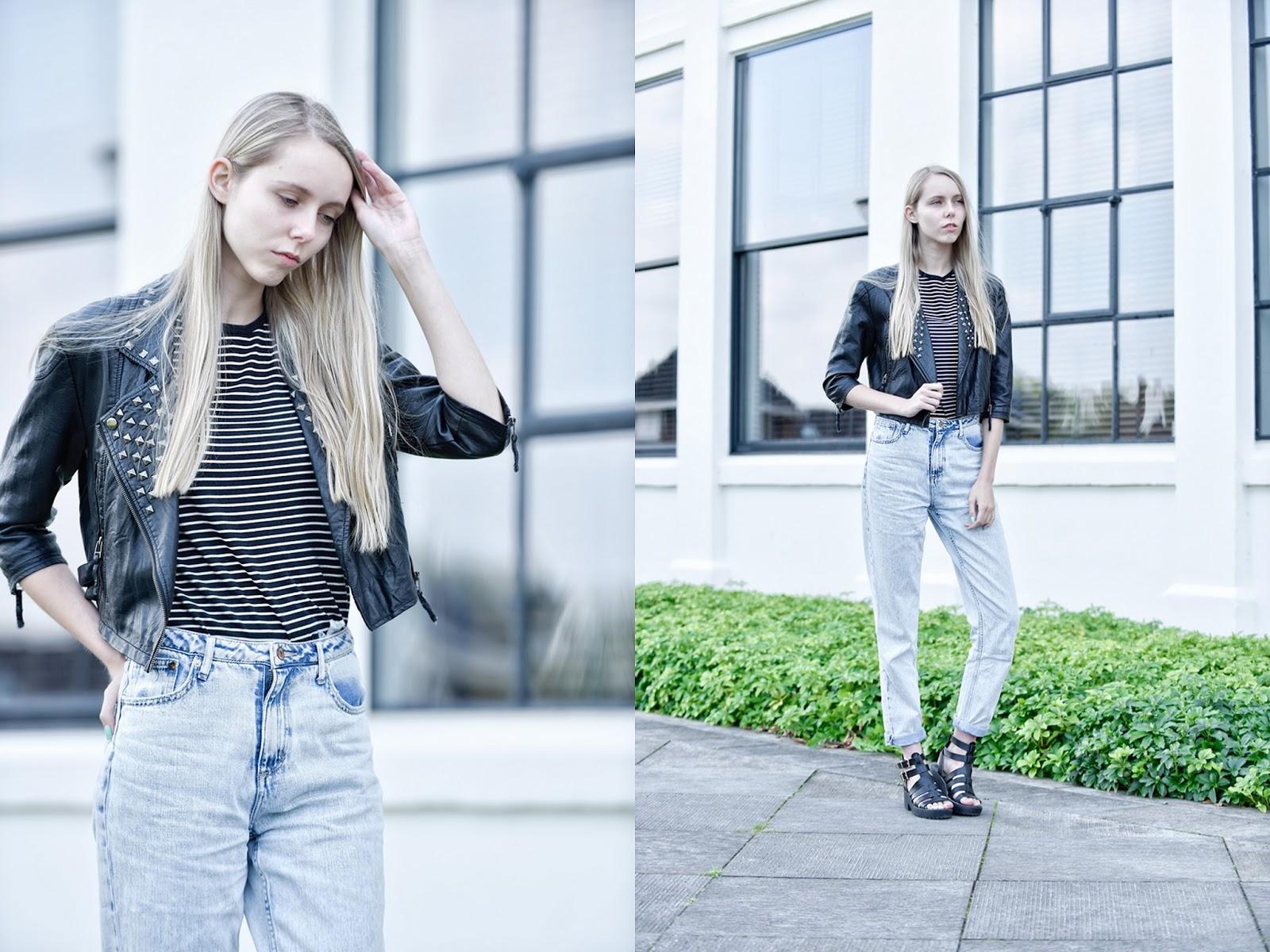 Mom jeans van H&M gebleekte spijkerbroek losse broek biker jack met studs bikerjasje chunky sandalen trend mode blogger