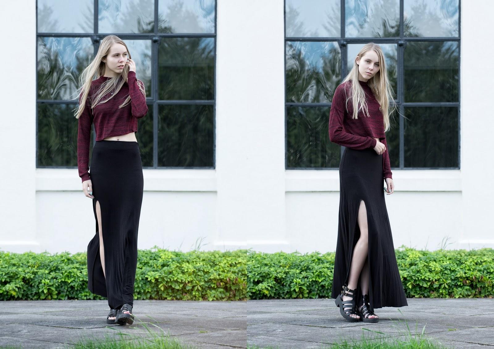 Herfst outfit inspiratie lange rok met split wijnrood truitje Nummer Zestien store ketting vosje nederlands mode blog