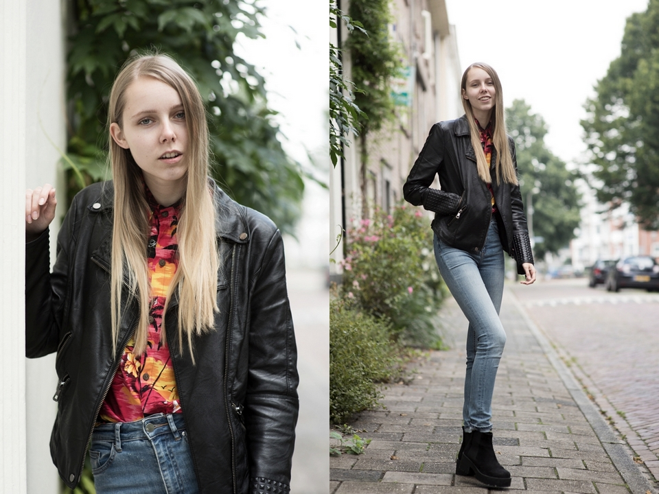 Outfit | Hawaiian shirt with leather jacket