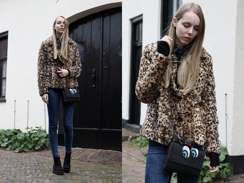Outfit | Faux fur leopard coat