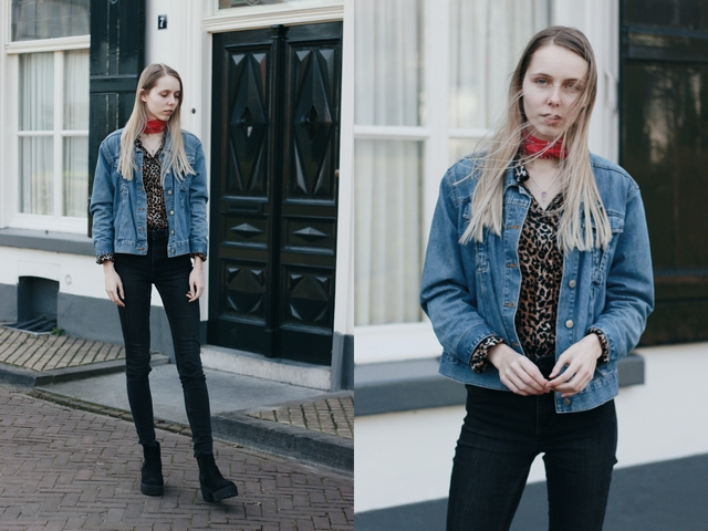 Outfit | Vintage denim and leopard
