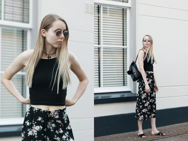 Outfit | Black floral culottes