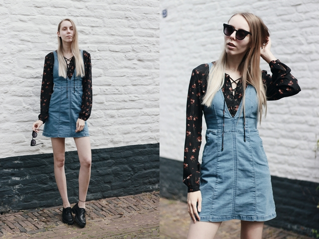 Outfit | Denim salopette dress