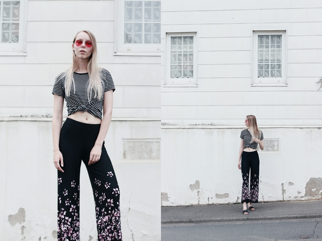 Outfit | Wide floral pants