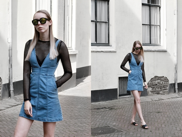 Outfit | Fishnet top and denim dress
