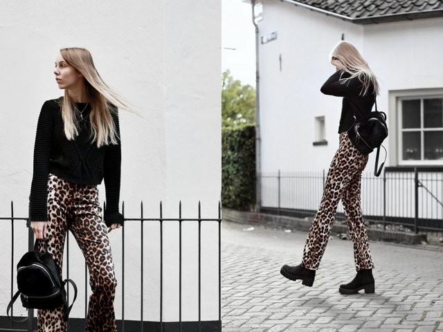 Outfit | Velvet animal pants