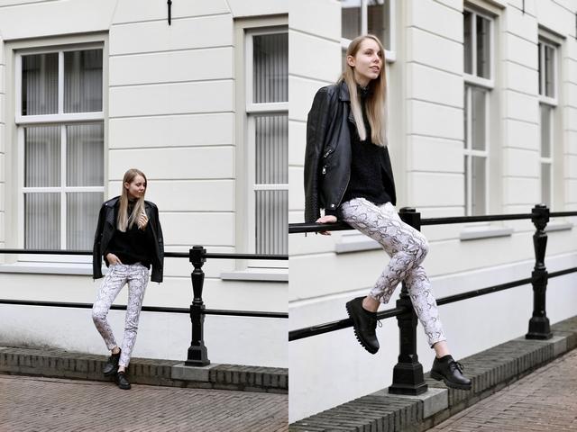 Make people stare H&M slangen print broek snake herfst outfit bullboxer veterschoenen