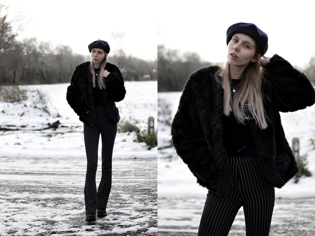 My Jewellery baret kettinkjes blogger winter outfit Make people stare imitatie bont jas flare broek