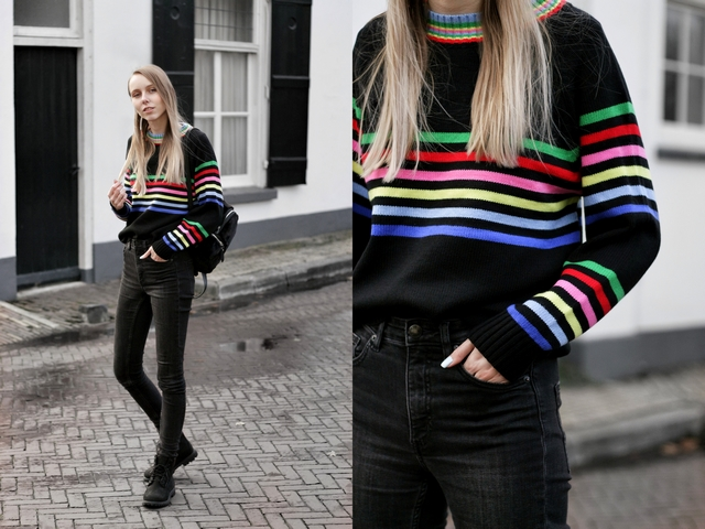 Outfit | Black rainbow sweater