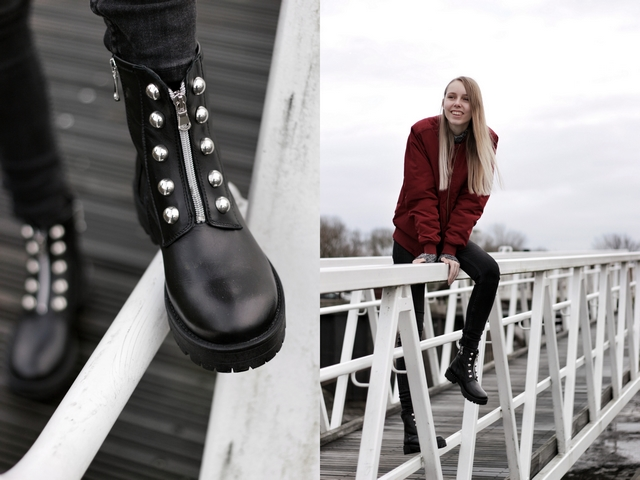 Outfit | Studded biker boots