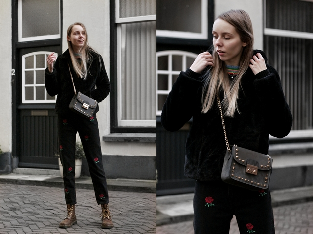 Outfit | Studded bag & roses jeans