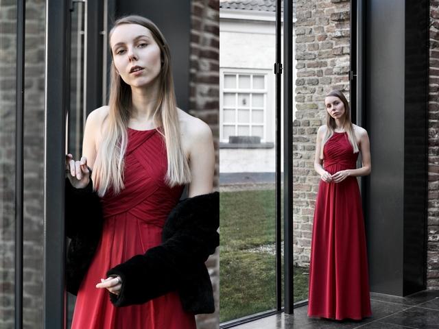 Outfit | Deep claret dress