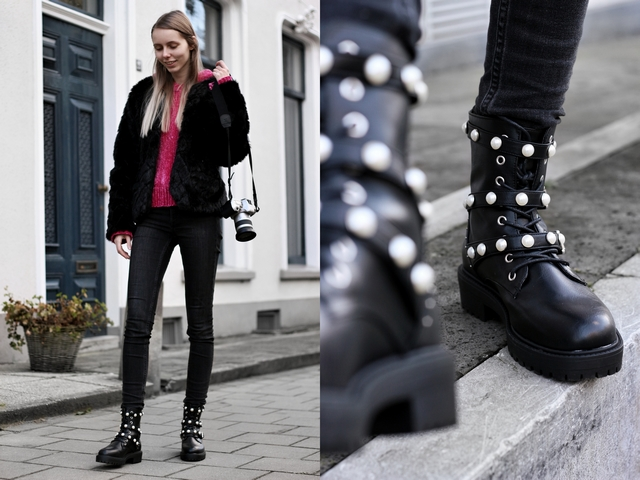 outfit met biker boots parel laarzen van Bullboxer Monki skinny jeans jas van imitatiebont en H&M roze hoodie