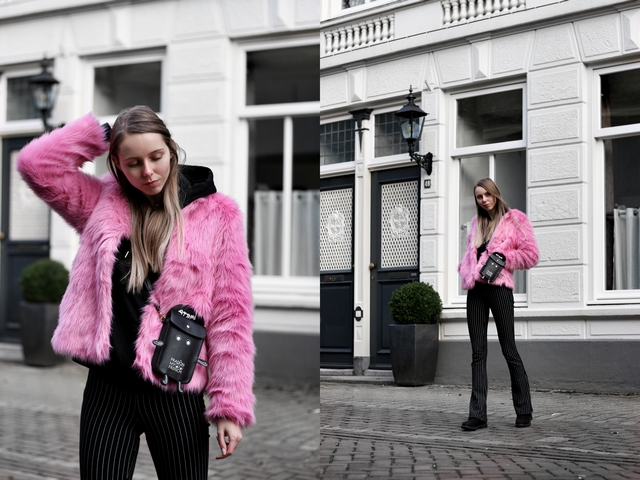 Outfit | Pink fluffy coat