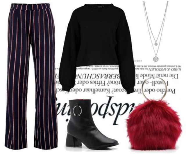 Want to wear | Striped pants & fluffy bag