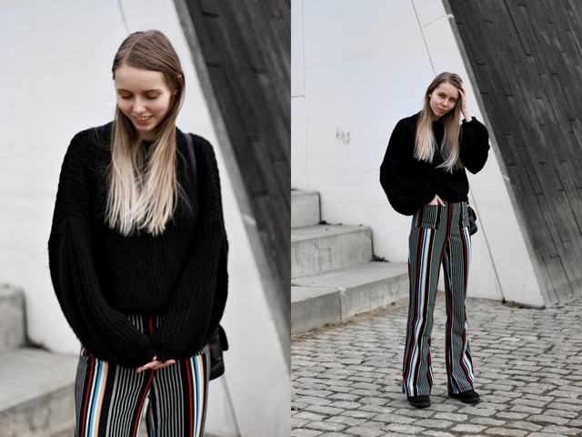 Outfit | Striped palazzo pants