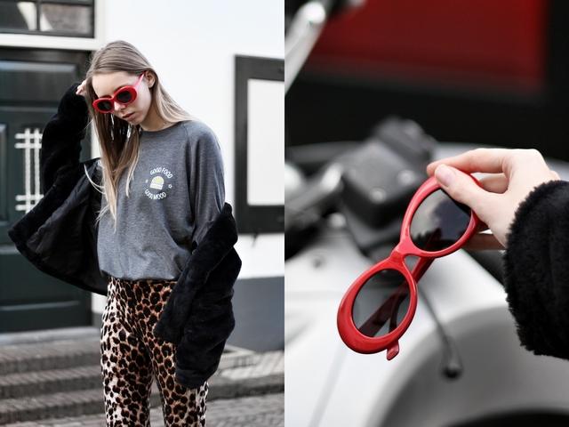 Outfit met treasure label hamburger trui invito broek met panterprint rode retro ovale froufrou's zonnebril