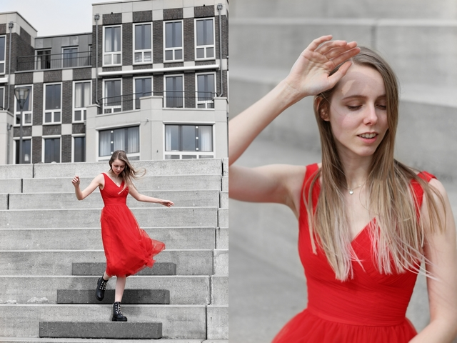 Outfit | Red tulle dress