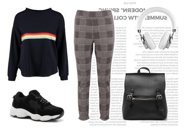 Outfit met grijze geruite broek comfortabele trui sweater zwarte dad sneakers nette rugzak River Island