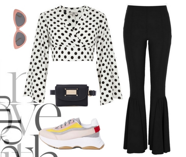 Want to wear | Polkadot top & chunky sneakers