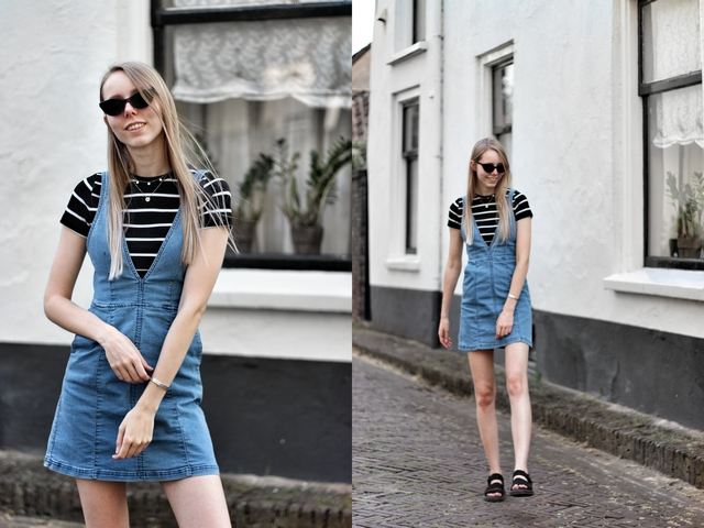 Outfit | Denim dress and cuff bracelet
