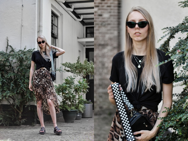 Outfit | High-low leopard skirt