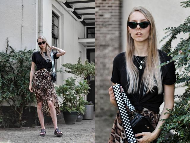 Outfit met primark panterprint rok en dr. martens platform sandalen polette zonnebril kathie black nederlandse mode blogger outfit post doesburg
