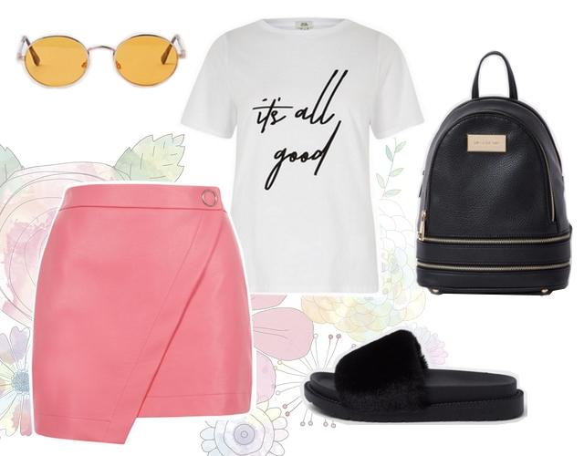 Want to wear outfit met roze leren broek rok van imitatieleer en wit t-shirt van Boohoo