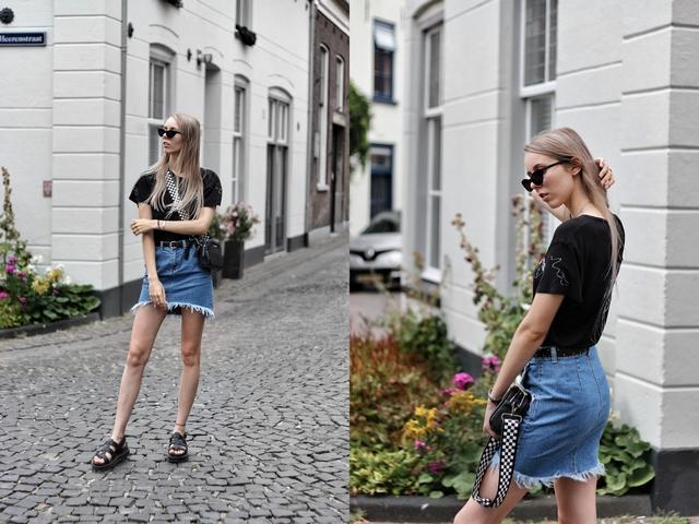 Outfit met zelf ontworpen t-shirt Digitransfer Asos spijkerrok kathie black polette zonnebril yelena dr martens sandalen nederlands mode blog