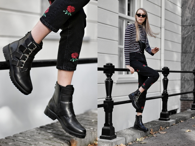 Outfit | Black buckle boots