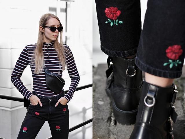 Outfit met Bullboxer biker boots gespen laarzen en Zara broek met roosjes polette kathie black zonnebril outfit mode blog