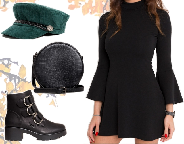 Want to wear | Black bell sleeve dress