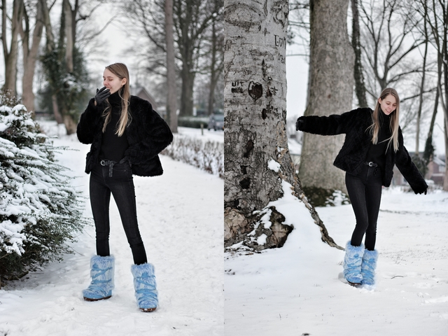 Outfit | Fluffy snowboots