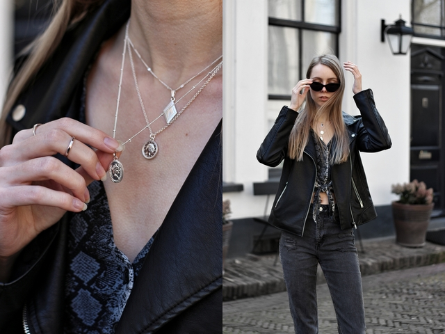 Outfit | Biker jacket & silver jewelry