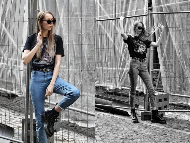 Blogger outfit met zwarte Jadon Dr. Martens laarzen van Footway en tweekleurige Didi spijkerbroek en zwarte oversized botfriend t-shirt street style