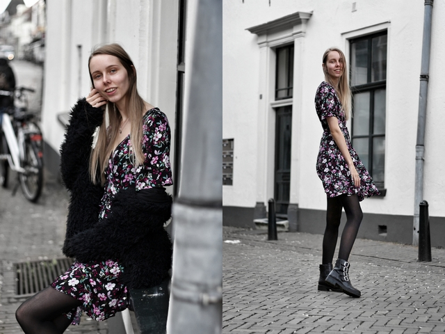 Outfit | Floral wrap dress