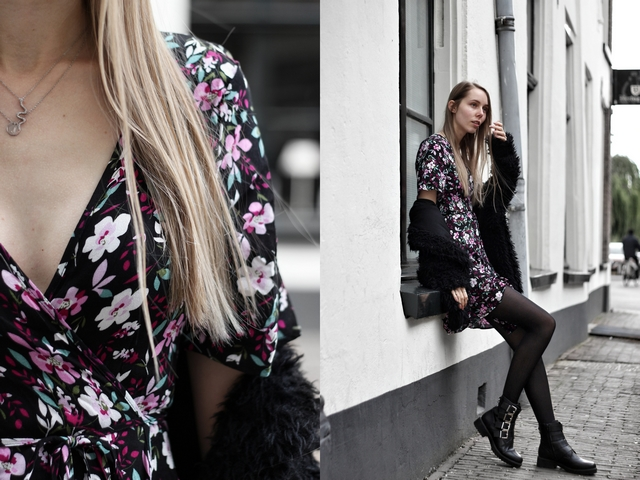 Outfit met bloemen jurkje van My Jewellery en Bullboxer biker boots mode blogger lente zomer inspiratie