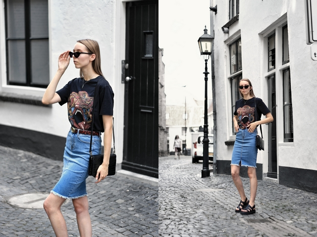 Outfit | Denim pencil skirt