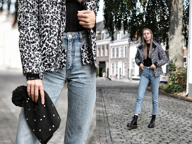 Outfit | Leopard puffer jacket