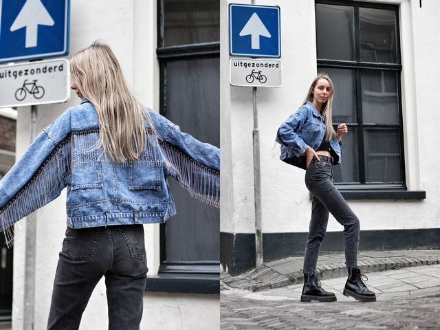 Outfit | Fringe denim jacket