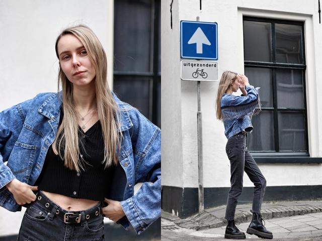 Outfit met fringe denim jacket en crop top vestje van Lily Lulu Fashion review blog outfit post spijkerjas franjes cowgirl dr martens jadon platform nederlandse mode blogger