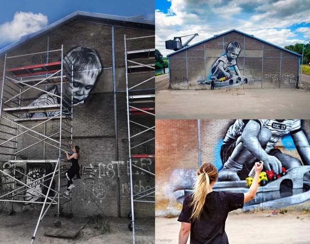 Girlboss interview met kunstenares street artist Rosalie de Graaf van RoosArt graffiti jonge ondernemer realistische schilderingen doesburg station connection jongetje trein