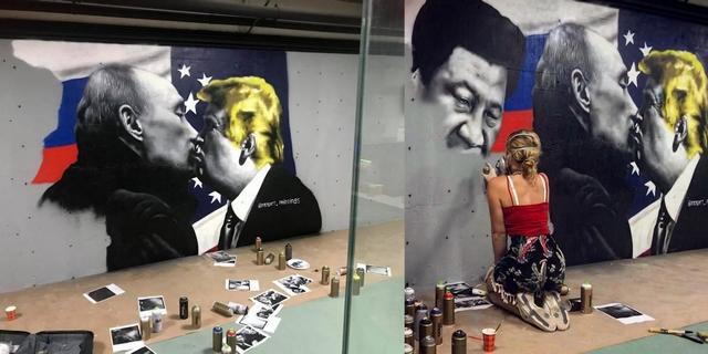 Girlboss interview met kunstenares street artist Rosalie de Graaf van RoosArt graffiti jonge ondernemer realistische schilderingen politiek trump world leaders kiss