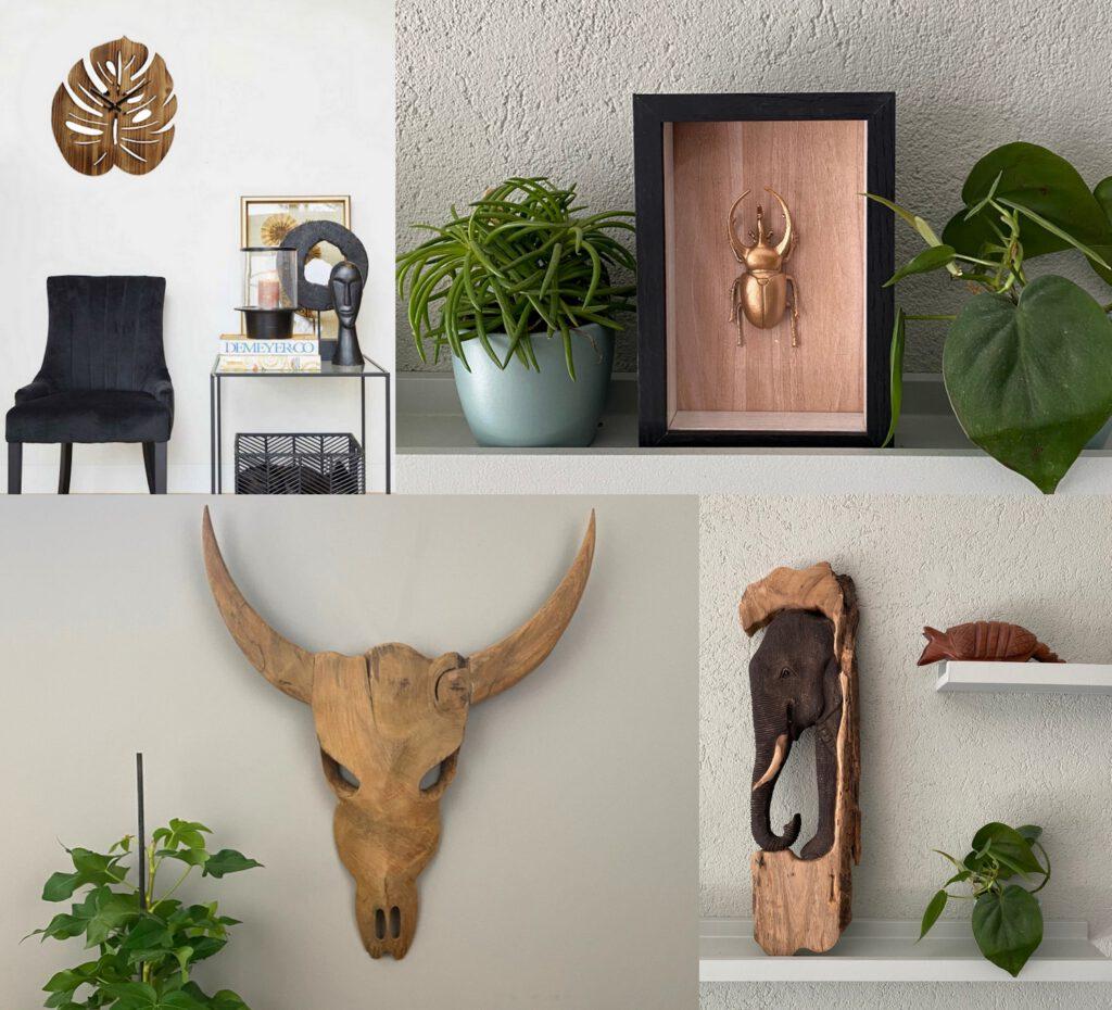 Lumbuck robuuste houten decoratie landelijk wonen stoer interieur wandklok van hout dierenschedel muurdecoratie olifant wanddecoratie