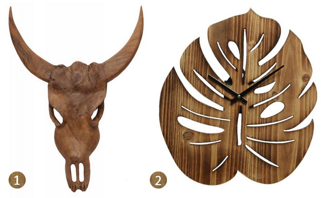 Lumbuck robuuste houten decoratie landelijk wonen stoer interieur houten dierenschedel accessoire blad klok van hout botanisch