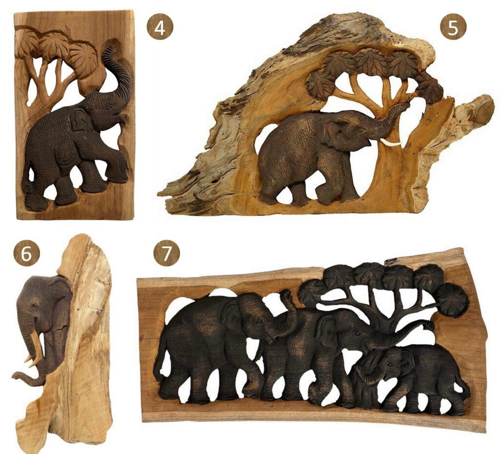 Lumbuck robuuste houten decoratie landelijk wonen stoer interieur olifant accessoire muuroliefant