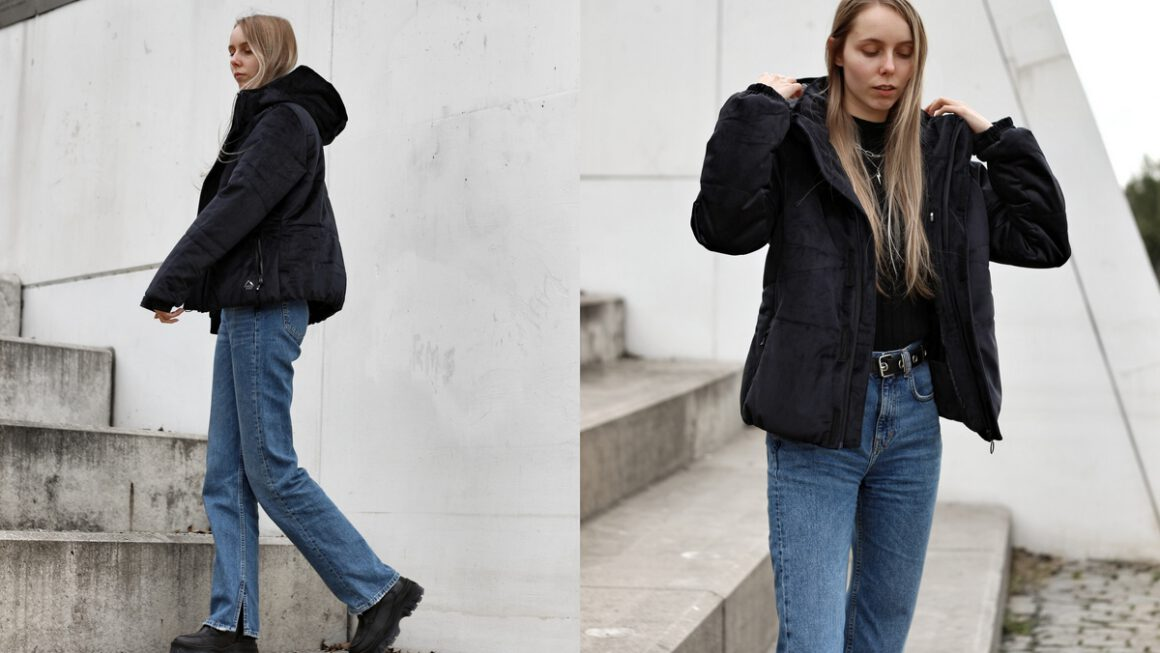 Outfit | Velvet puffer coat
